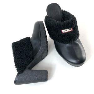 Hunter Bruson stacked heel black clog size 10 (#5)